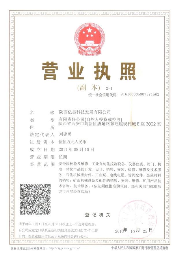 陕西亿昊发展科技有限公司营业执照